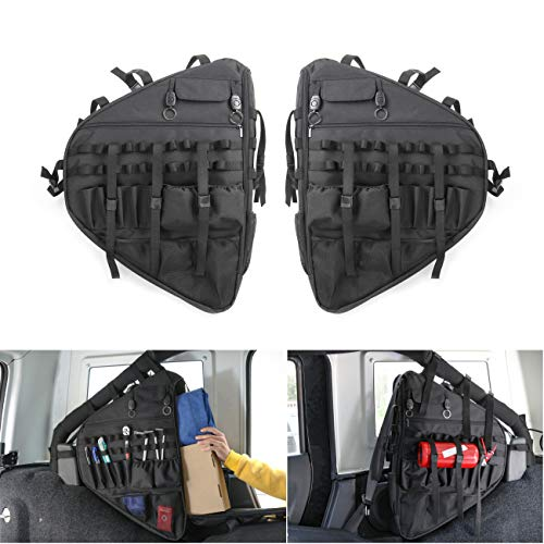 (YOCTM Car Styling Left Right Roll Bar Storage Bag Cage with Multi-Pockets & Organizers & Cargo Bag Tool Kits Holder for 2018 2019 Jeep Wrangler JL Parts Accessories (2-Pack))