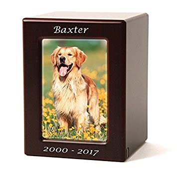 Photo Frame Wood Memorial Funeral Urn for Cat, Dog – Medium with Engraving Brown Cremation Urn for Pets – Custom Engraving Included