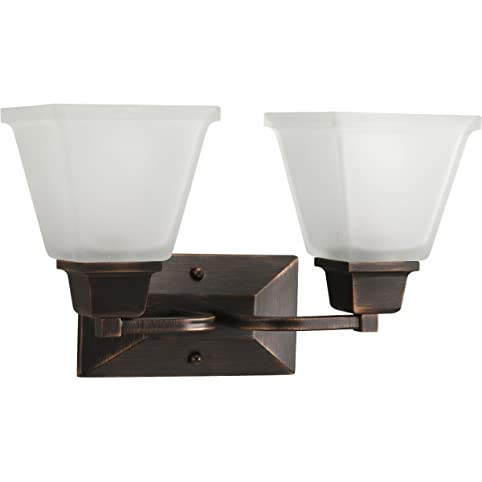 Progress lighting p2738 74 2 light bath fixture with square etched glass and can