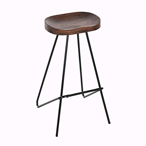 Amazing Amazon Com Retro Barstools Wood Seat Black Metal Legs Onthecornerstone Fun Painted Chair Ideas Images Onthecornerstoneorg