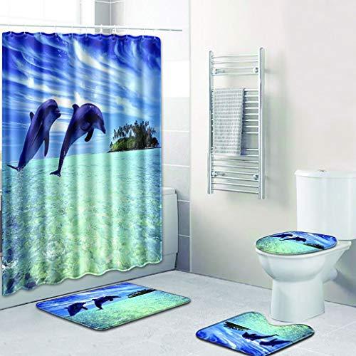 Beyonds Bathroom Mat Sets 4 Piece, Underwater World Dolphin Carpet Doormats Decor Shower Curtain and Rugs Bath Mat for tub Kids Floor, Non-Slip Fish Sea Turtle Ocean Shower Curtain Bathroom Mat