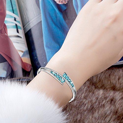 Menton Ezil ''Love Encounter Sapphire Blue Swarovski Bracelets Woman Bangle 7'' Charm Tennis Jewelry by Menton Ezil (Image #2)