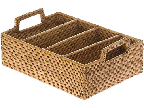 KOUBOO La Jolla Rattan Flatware Tray, Honey Brown (Rattan Holder)