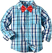 Toddler Kids Baby Boys Long Sleeve Plaid Shirts Button Down Casual Blouse Tops with Bowtie