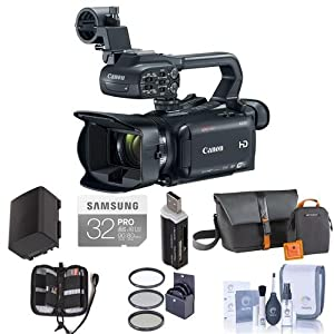 Canon XA30 Professional Camcorder - Bundle with Video Bag, 32GB Class 10 SDHC U3 Card, Spare Battery, 58mm UV Filter, Cleaning Kit, Memory Wallet, Card Reader