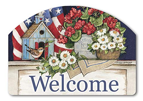 Yard DeSigns Studio M Patriotic Birdhouse Spring Summer Floral Decorative Yard Sign Magnet, Made in USA, Superior Weather Durability, 14 x 10 Inches ()