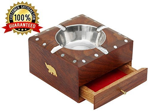 SouvNear Ashtray with 4 Cigarette Holder Slots - Square Wood Ash Tray Office & Bar Indoor & Outdoor with Elephants Motifs - Perfect Gift for Smokers and Father's Day Gift Idea - Exclusive Wooden Elephant