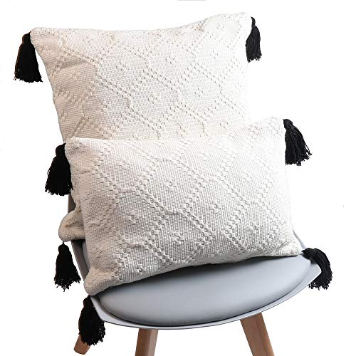 HiiARug Woven Cotton Tassel Throw Pillow Covers and Lumbar Pillow Cover Set of 2pcs White Reversible Geometric Textured Tassel Throw Pillow Covers for Home, Party, Car, Office, Sofa, Bed