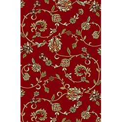 "Kapaqua Rubber Backed 5' x 6'7"" RED Floral Area Rug Non-Slip - Living, Dining, Room, Pet & Kitchen Rug"