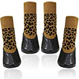 BESUNTEK Anti-Slip Dog Socks,Waterproof Paw Protectors with Straps Traction Control for Indoor & Outdoor Wear(4pcs,Brown and Black)