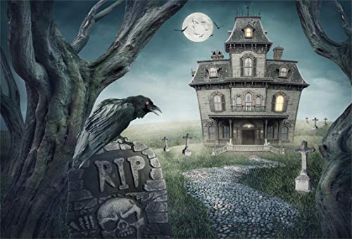 Leyiyi 10x6.5ft Gothic Halloween Backdrop Vintage Abandoned House Old Castle Ghost Room Grave Yard Bare Tree Crow Full Moon Photography Background Costume Carnival Photo Studio Prop Vinyl Banner