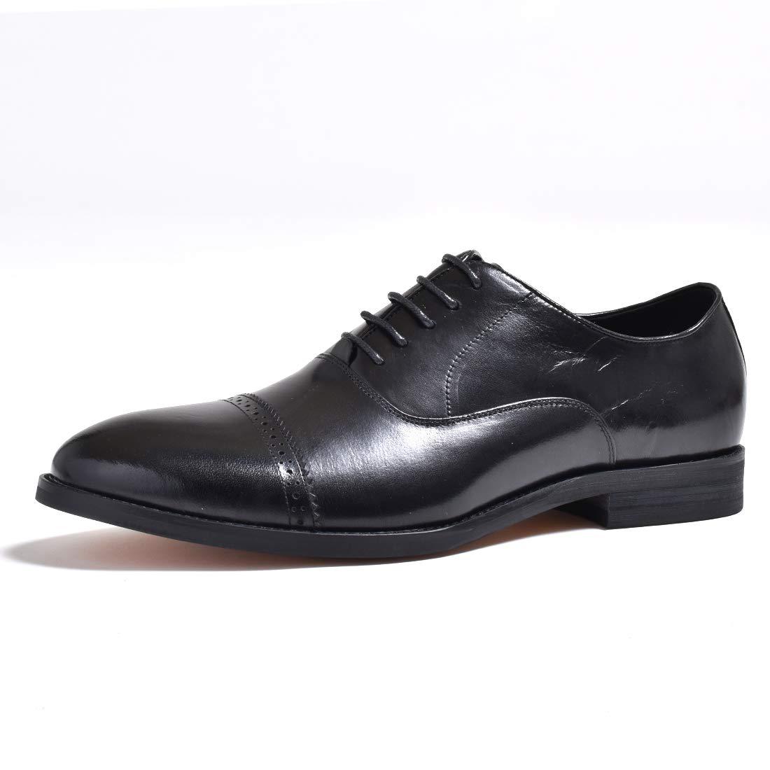 [ルシウス] レザー 革靴 ビジネスシューズ フォーマル ストレートチップ メンズ イタリアンデザイン シューズ 紐 黒 茶 本革 B07Q84W6N7 27.5 cm ブラック ブラック 27.5 cm