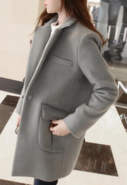 Unko Women's Slim Fit Style Slim Fit Thicken Wool Coat