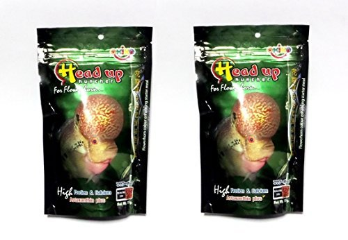 2X Okiko Head up huncher Flower Horn Fish Food Astaxanthin size XL 3.52Oz - Waffle Fry Costume