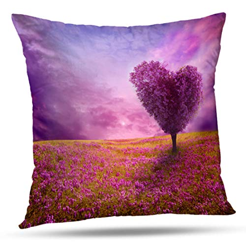 HAPPYOME Decorative Throw Pillow Covers Tree Love Heart Landscape Shape Spring Lilac Sunset Beauty BloomPillow Case Cushion Cover for Bedroom Livingroom Sofa 16X16 Inches