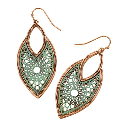 Rosemarie Collections Womens Two Tone Statement Dangle Earrings  Moroccan Filigree   Burnished Copper And Patina