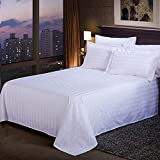 Ocamo Solid Color Flat Sheet Exquisite White Satin Stripes Bedspread for Hotel Home Supplies 230X240