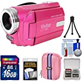 Vivitar DVR-508 HD Digital Video Camera Camcorder (Pink) with 16GB Card + Case + Tripod + Kit
