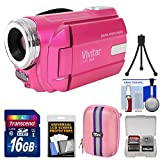 Vivitar DVR-508 HD Digital Video Camera Camcorder (Pink) with 16GB Card + Case + Tripod + Kit