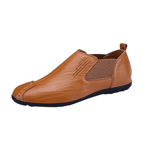 LuckyGirls Zapatos De Cuero para Hombre Calzado Zapatos Planos Casual Mocasines Zapatos Formales del Negocio Náuticos