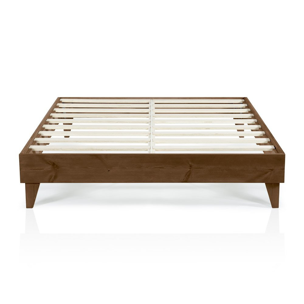 Cardinal Crest Wood Platform Bed Frame Modern Wooden Design Solid Wood Construction Easy Assembly California King Size Walnut