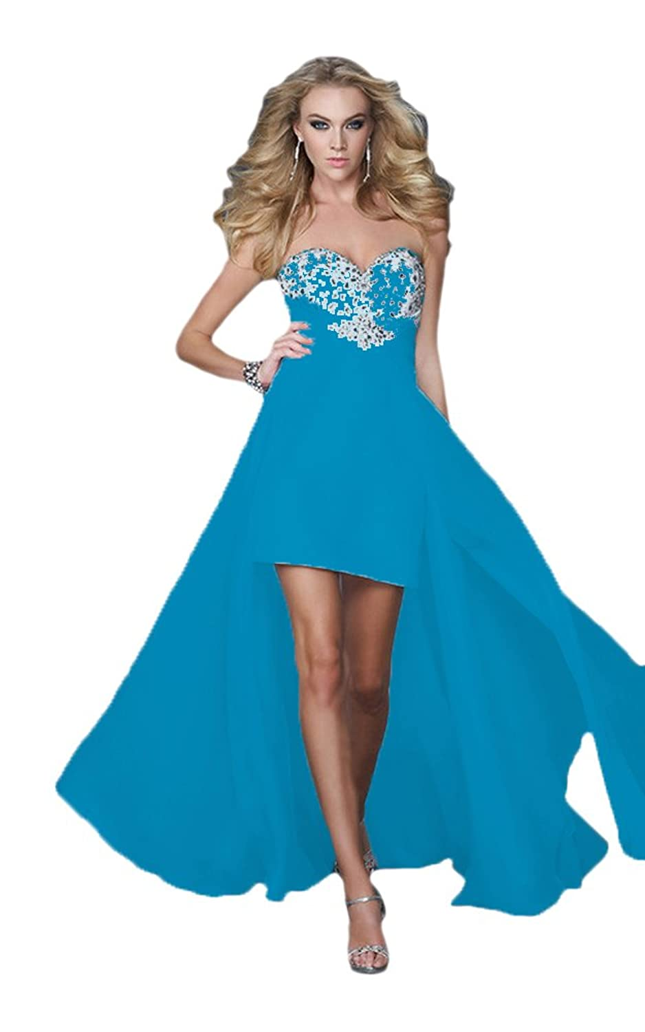 Vimans? High Low Chiffon Blue Sweetheart Formal Wedding Ball Gowns for Lady