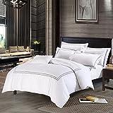 Deep Sleep Home 250 Thread Count Cotton Sateen Duvet Cover 3 – Piece White Background (Queen, Grey)