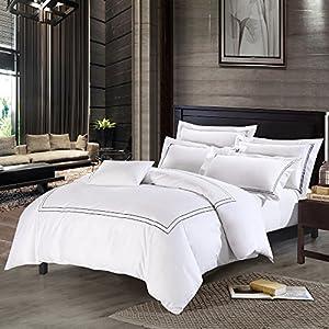 Deep Sleep Home 250 Thread Count Cotton Sateen Duvet Cover 3 - Piece White  Background (Queen, Grey)