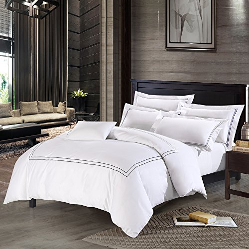 Deep Sleep Home 3pc Duvet Cover Set, 40s Cotton Sateen, Grey Embroidered Lines, 250 Thread Count Percale, White Background, Double Full, Queen, King Size (King, Grey)