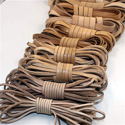 2m/lot 2/3/4/5/6/8mm Flat Genuine Cow Leather Cord Bracelet Necklace Jewelry Findings Leather Rope String DIY Jewelry Making Shop One Stop (Natural, Width 2mm (0.078