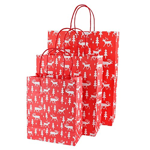 Looching Pack of 12 Christmas Gift Bags,4 Small, 4 Medium, 4 Large(Pattern Design May Vary) (Red)