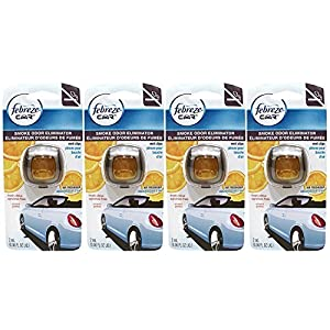 Febreze Car Vent Clips Air Freshener Smoke Odor Eliminator, Citrus Scent, (Pack of 4)