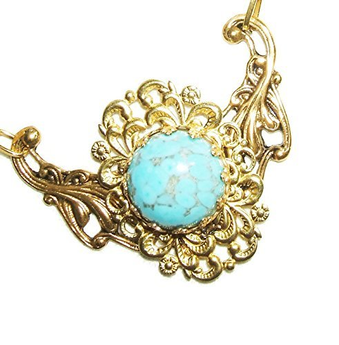 FILIGREE NECKLACE Turquoise Blue Marbled Glass Cabochon Stone Gold Plated ()