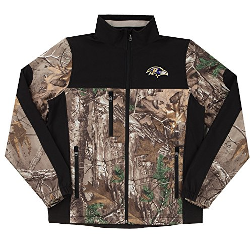 (NFL Baltimore Ravens Hunter Colorblocked Softshell Jacket, Real Tree Camouflage,)