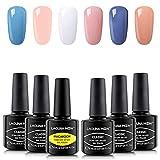 Beauty : Lagunamoon Gel Nail Polish Set,Nude Pink Blue White 6 Colours Manicure Kit Soak Off UV LED Gel Nail Polish Requires Drying Under Nail Lamp,8mL Each Bottle