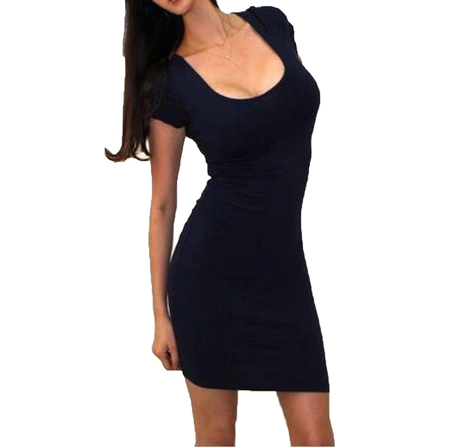 Abetteric Women's Round Neck Stretch Slim Bodycon Dress