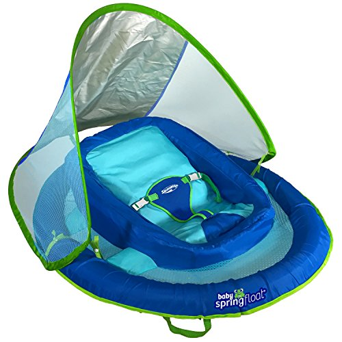 SwimWays Infant Baby Spring Float with Adjustable Sun Canopy - -