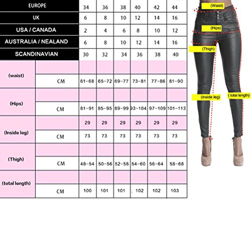 Zhhlinyuan Womens Slim Fit PU Leather High Waisted Pants Zipper Three Buckle Pants Hermoso para mujeres Dark Red