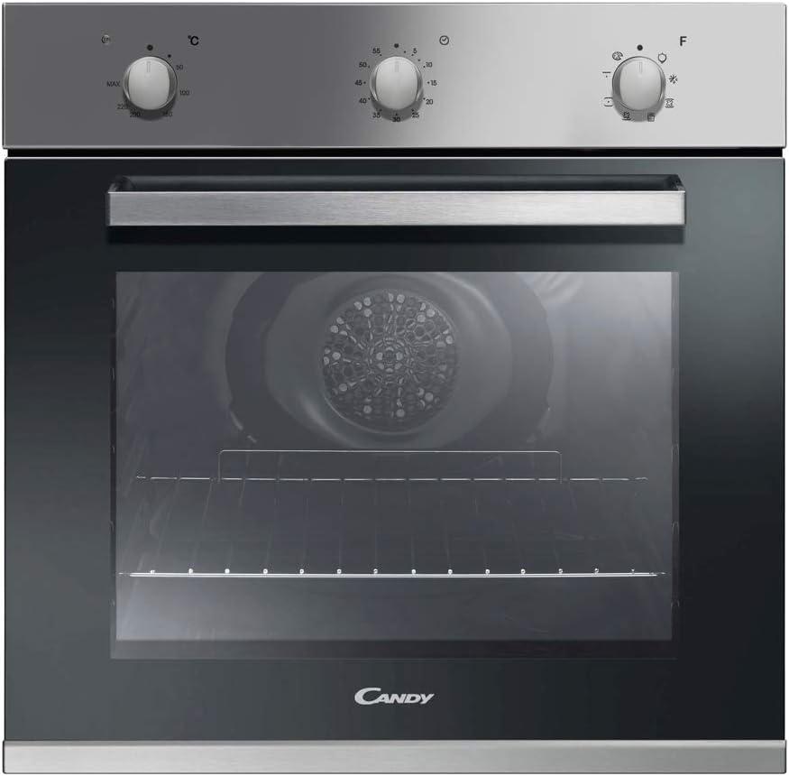 Candy FCP602X Forno Elettrico da Incasso Ventilato con Grill, Capacit� 65 Litri, A+, Acciaio inossidabile e vetro, Argento/Nero
