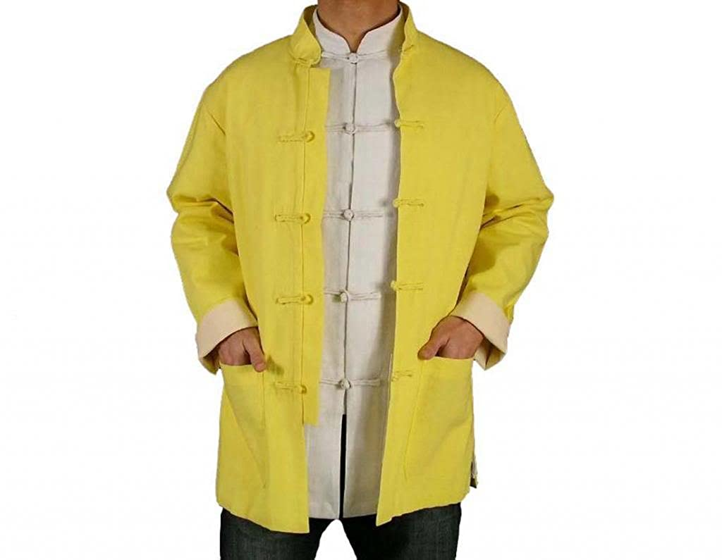 100% Cotton Gold Kung Fu Martial Arts Tai Chi Jacket Coat XS-XL or Tailor Custom Made + Free Magazine