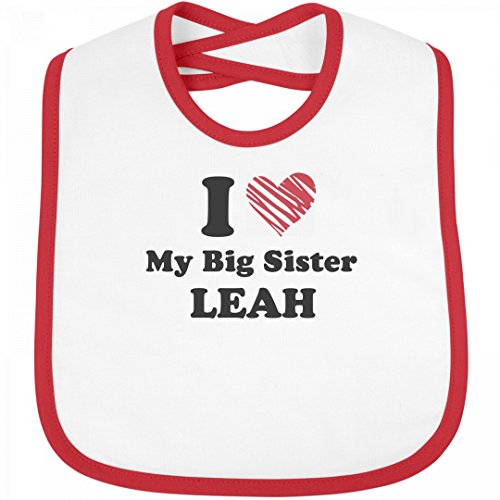 I Love My Big Sis LEAH Bib: Infant Rabbit Skins Contrast Trim Bib Sis Custom Fabric