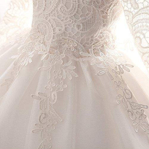 Myosotis510 Girls' Lace Princess Wedding Baptism Dress Long Sleeve Formal Party Wear for Toddler Baby Girl by Myosotis510 (Image #3)