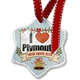 Add Your Own Custom Name, I Love Plymouth region: South West England, England Christmas Ornament NEONBLOND