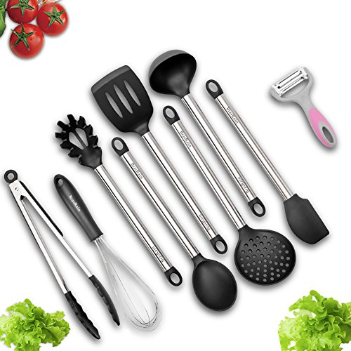 Kitchen Utensils, BravRain 9 Piece Nonstick Cooking Utensils, Non-Scratch Silicone and Stainless Steel Kitchen Tools Set-Spoon, Strainer, Spatulas, Ladle, Whisk, Serving Tongs, Pasta Server, Peeler