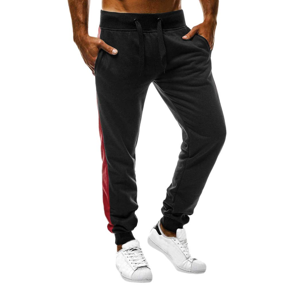 WUAI Mens Athletic Running Pants Lightweight Open Bottom Sweatpants with Pockets Casual Trousers(Black,US Size M = Tag L)