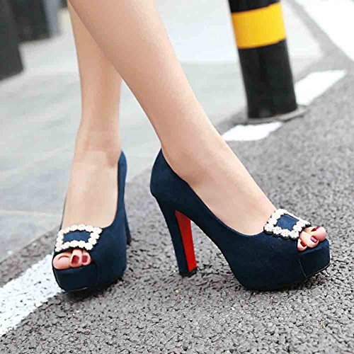 Rhinestone Chunky Trendy Heel Slip Cut Womens Blue High Peep On Sandals Toe Low Easemax qvE5x