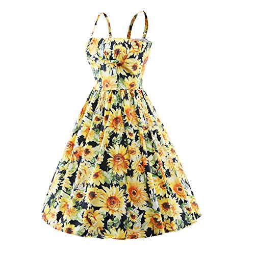 Classy Vintage Rockabilly V098 Style Dress yellow 1950's iLover Audrey Hepburn Swing Evening 1O5d1qw