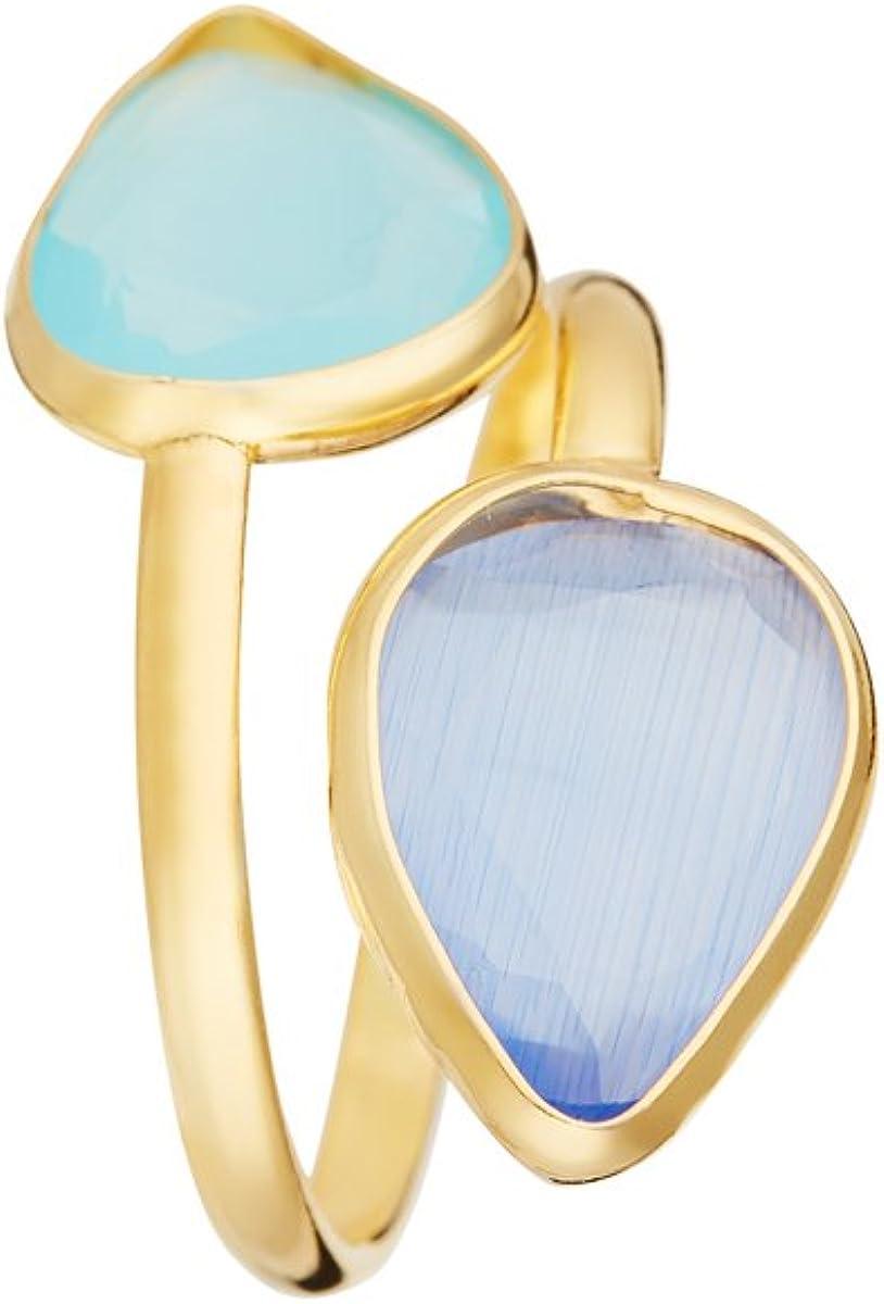 Córdoba Jewels | Sortija en Plata de Ley 925 bañada en Oro con Piedra semipreciosa con diseño Lágrima Calcedonia & Aguamarina Gold
