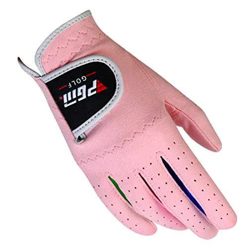 (PGM Kids Girls Golf Gloves One pair for Left and Right Hand Improved Grip Systerm Golf Gloves All Weather Pink 14)