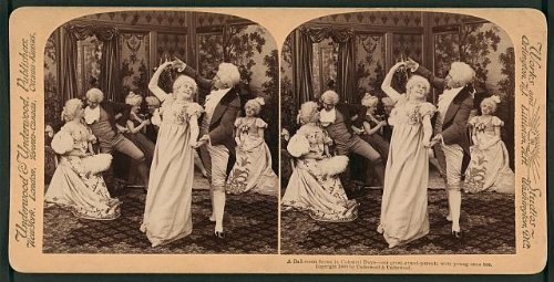 [Photo: Photo of Stereograph,Ball Room,Colonial Days,Couples,Costumes,Dancing,c1900] (Colonial Costumes 1700)